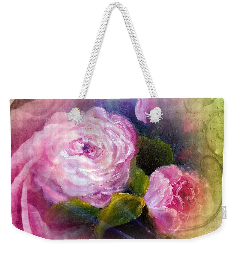 Blooming Weekender Tote Bag featuring the painting Blooming by Vesna Martinjak