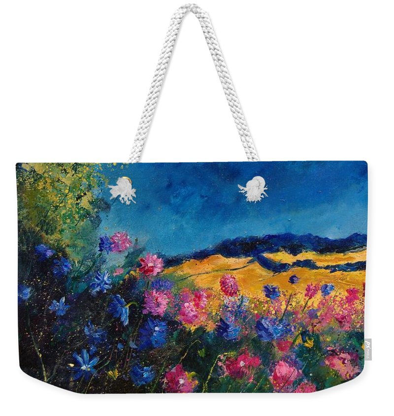 Flowers Weekender Tote Bag featuring the painting Blue And Pink Flowers by Pol Ledent