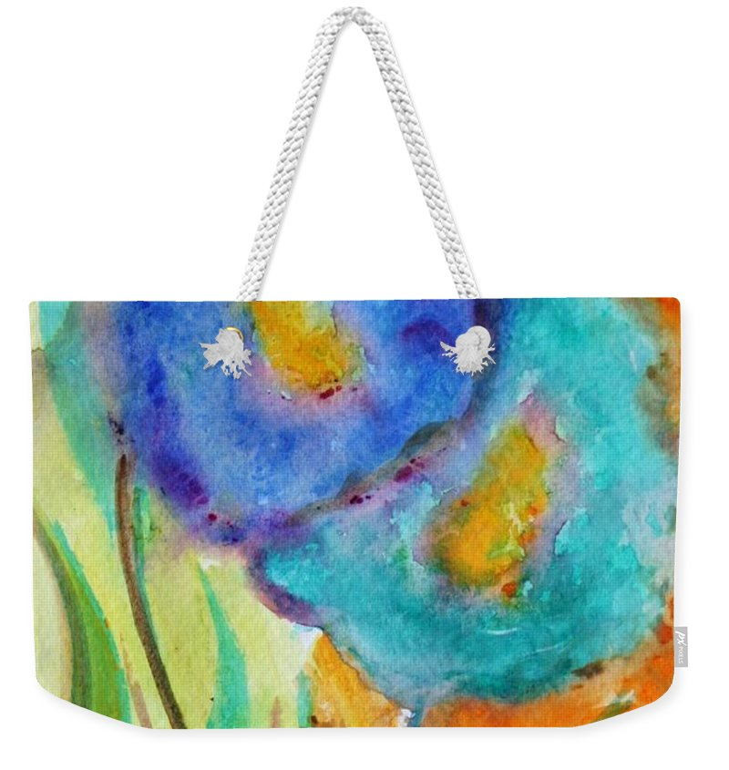 Flowers Weekender Tote Bag featuring the painting Blue Flowers by Luiza Vizoli