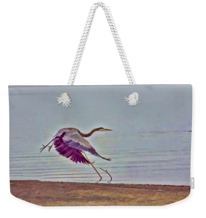 Blue Heron Weekender Tote Bag featuring the photograph Blue Heron by Douglas Barnard