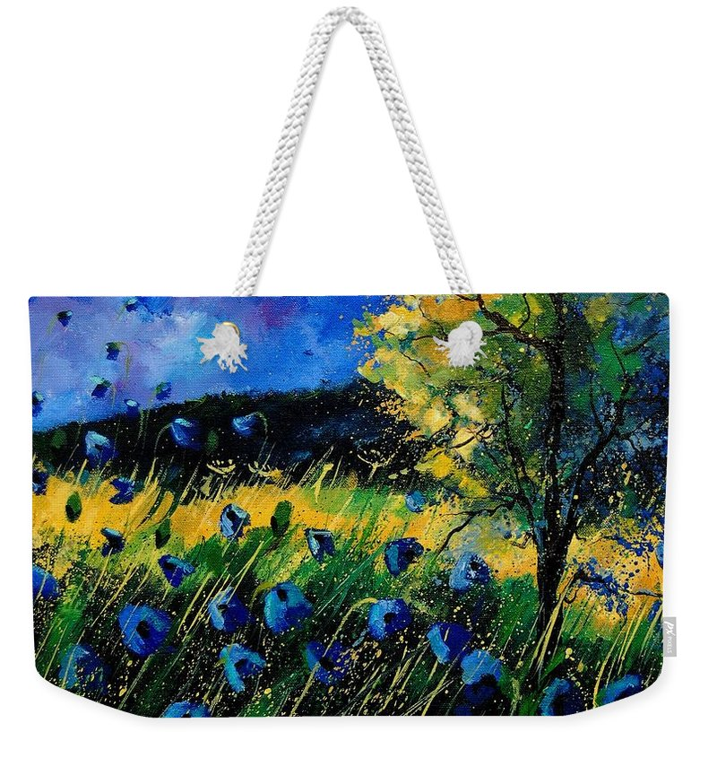 Poppies Weekender Tote Bag featuring the painting Blue poppies by Pol Ledent