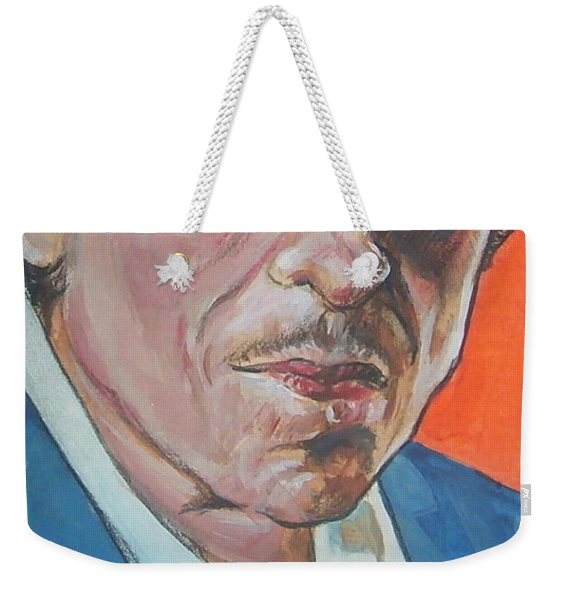 Bob Dylan Weekender Tote Bag featuring the painting Bob Dylan by Bryan Bustard