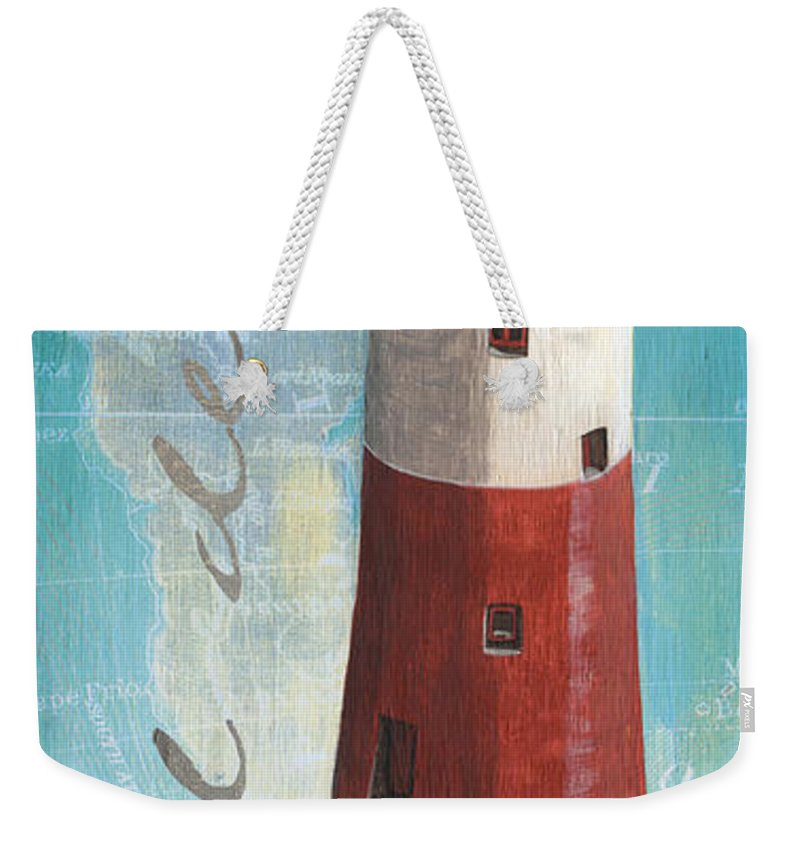 Lighthouse Weekender Tote Bag featuring the painting Bord De Mer 1 by Debbie DeWitt
