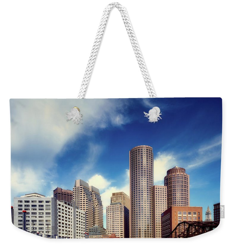 Boston Weekender Tote Bag featuring the photograph Boston Skyline 1980s by Mountain Dreams
