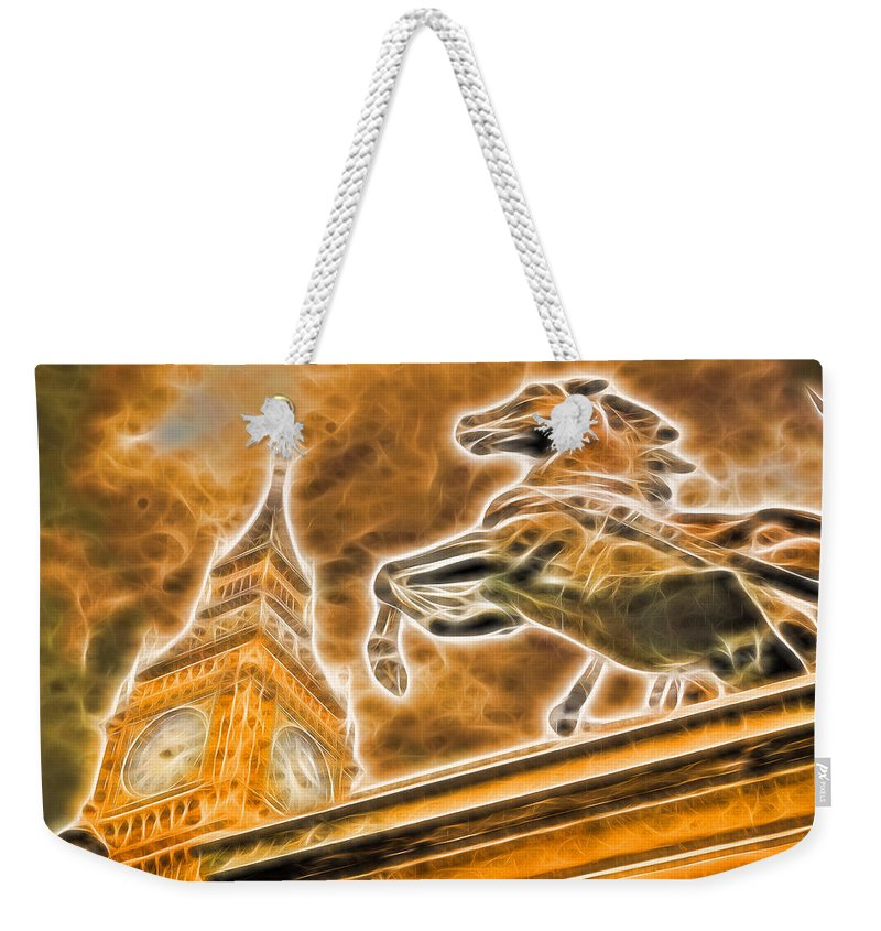 Victorian Weekender Tote Bag featuring the photograph Boudicca Statue And Big Ben by John Williams