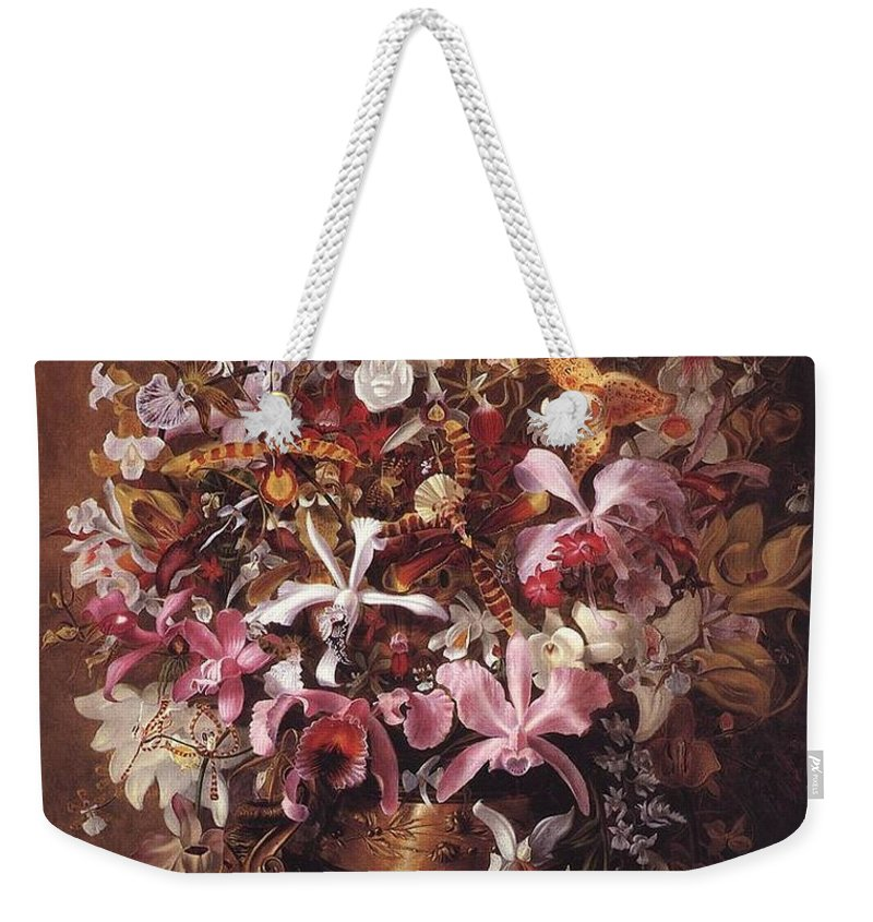 William Jacob Hays - Bouquet Of Orchids Weekender Tote Bag featuring the painting Bouquet Of Orchids by William Jacob