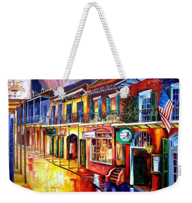 New Orleans Weekender Tote Bag featuring the painting Bourbon Street Red by Diane Millsap