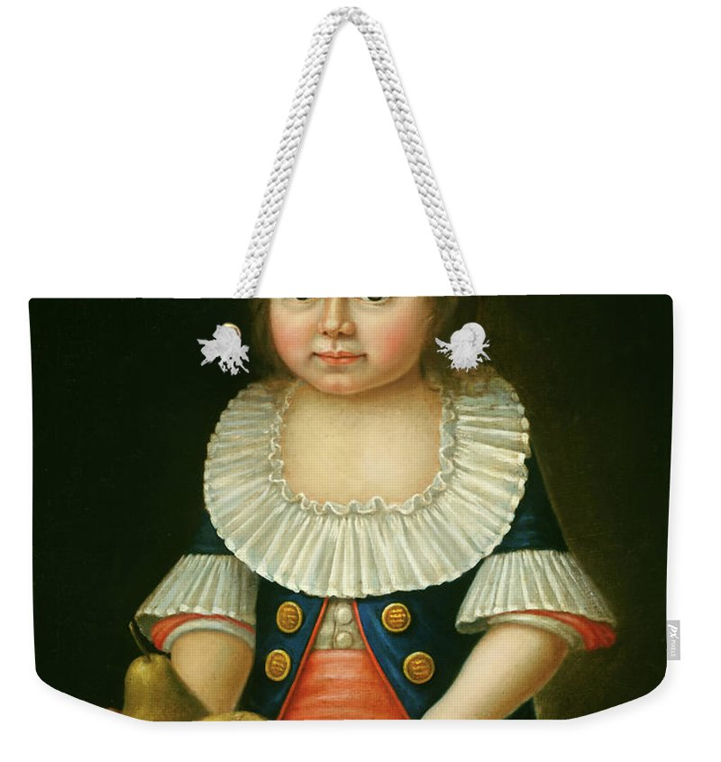 Painting Weekender Tote Bag featuring the painting Boy With A Basket Of Fruit by Mountain Dreams