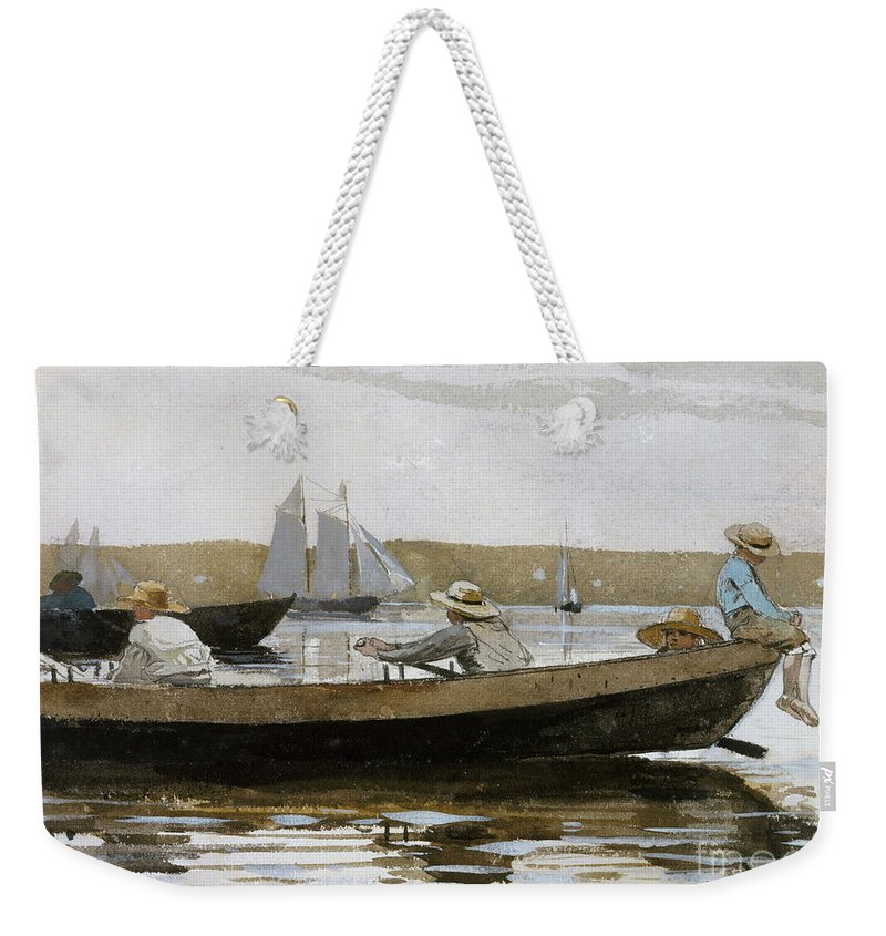 Boys In A Dory Weekender Tote Bag featuring the painting Boys In A Dory, 1873 by Winslow Homer