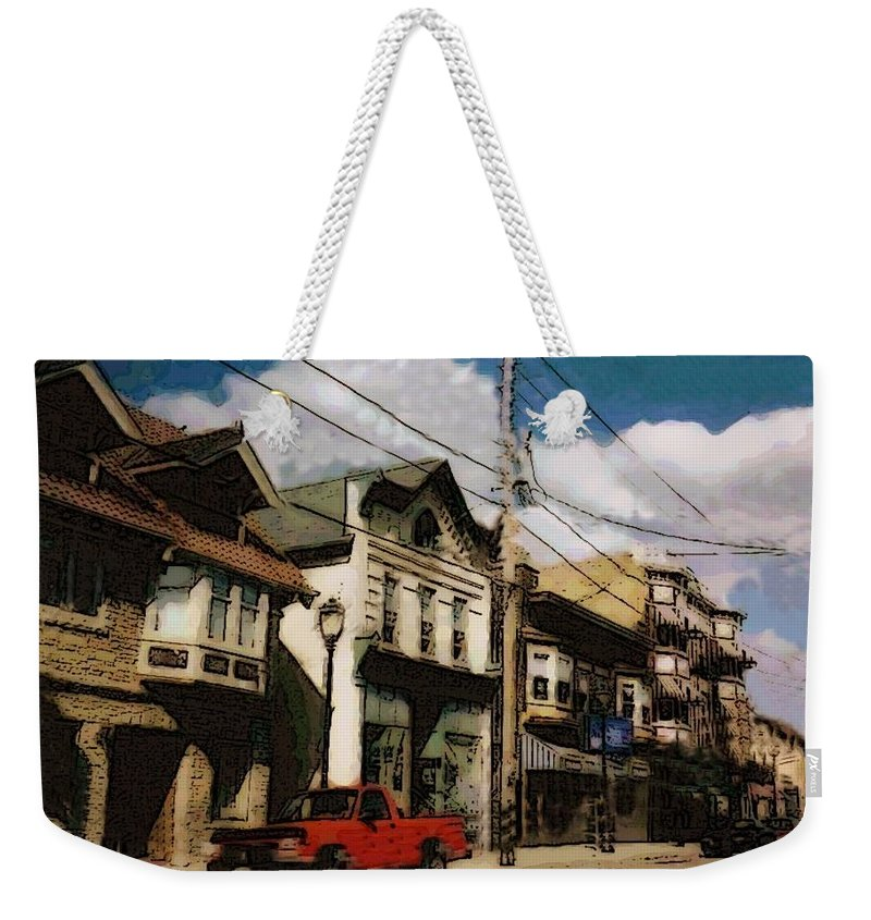 Brady Street Weekender Tote Bag featuring the photograph Brady Street Scene by Anita Burgermeister