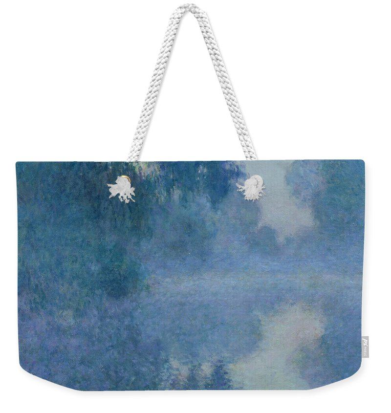 Impressionist; River; Reflection; Fog; Foggy; Misty; Mist; Branch; Seine; Giverny; Claude Monet; Monet; Tree; Trees Weekender Tote Bag featuring the painting Branch of the Seine near Giverny by Claude Monet