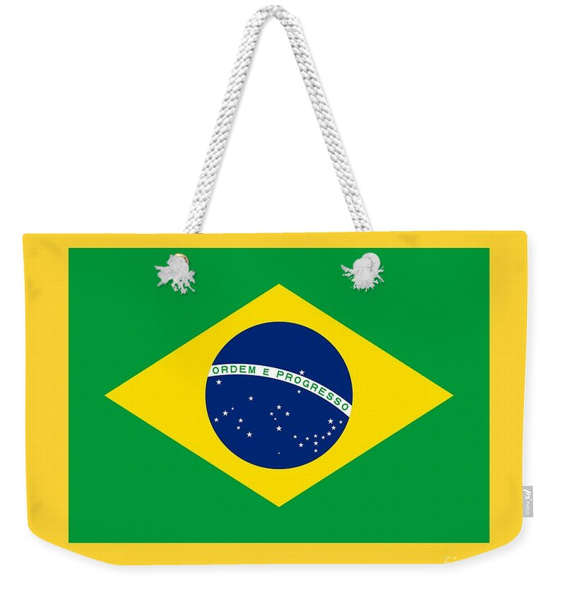 Banner Weekender Tote Bag featuring the digital art Brazil Flag by Frederick Holiday