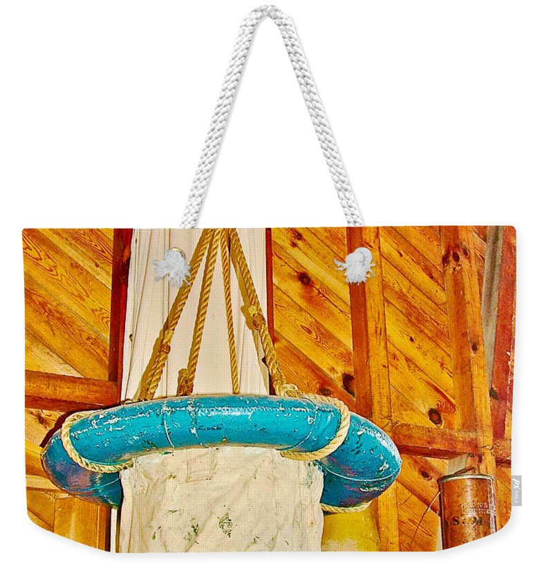 Breeches Buoy In Sleeping Bear Point Boathouse At Sleeping Bear Point In Sleeping Bear Dunes National Lakeshore Weekender Tote Bag featuring the photograph Breeches Buoy In Sleeping Bear Point Boathouse In Sleeping Bear Dunes National Lakeshore-michigan by Ruth Hager