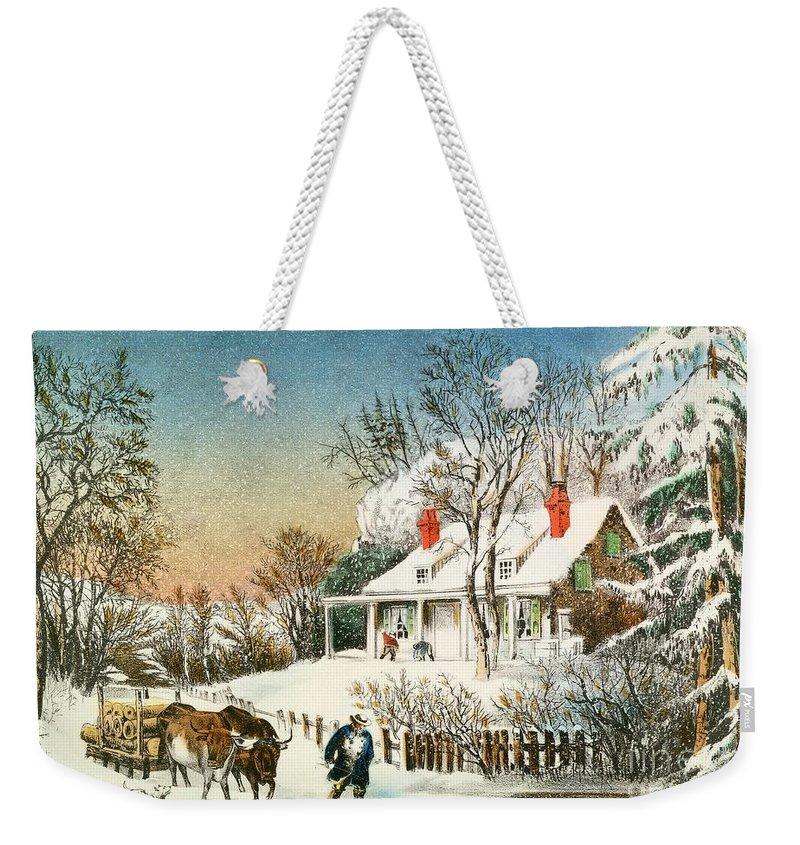 Currier And Ives Weekender Tote Bags