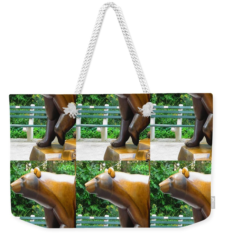 Statue Weekender Tote Bag featuring the photograph Bronze Statue Sculpture Of Bear Clapping Fineart Photography From Newyork Museum Usa Fineartamerica by Navin Joshi