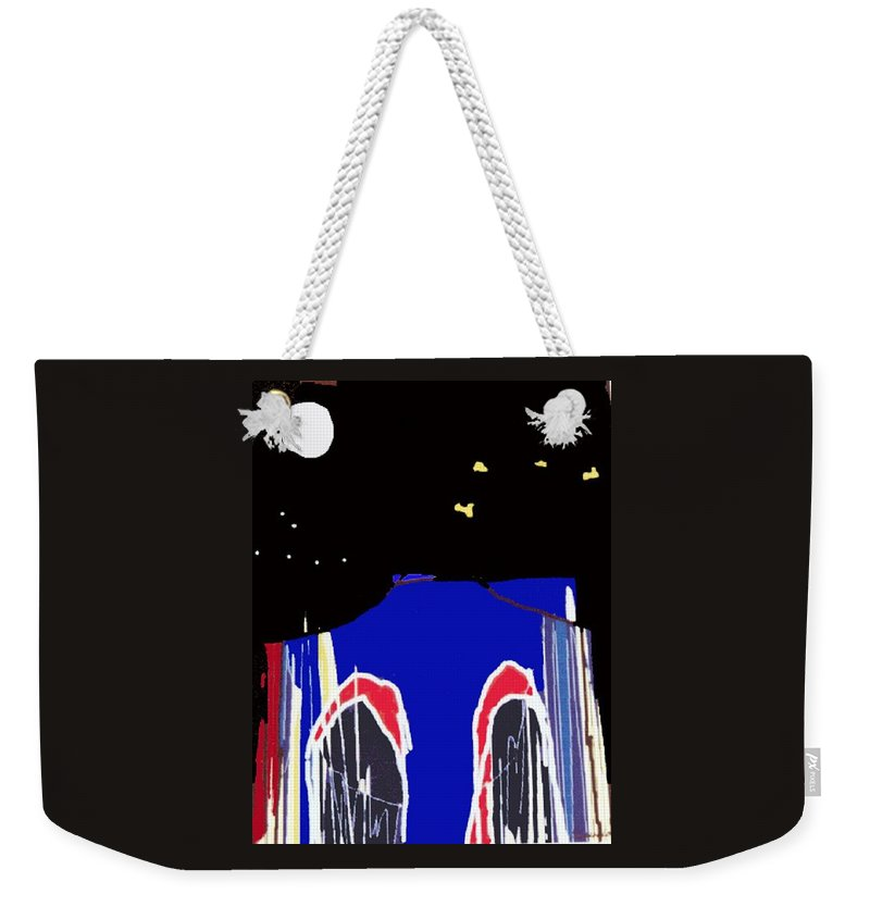 Bridge Weekender Tote Bag featuring the digital art Brooklyn Bridge Blue by Gail Eisenfeld