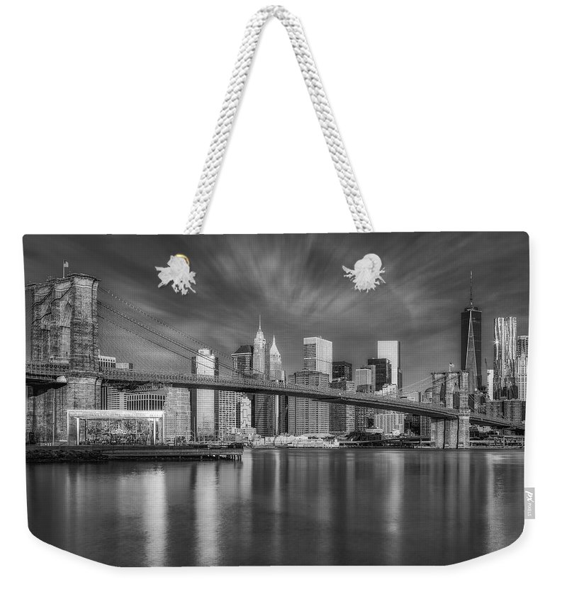 Brooklyn Bridge Weekender Tote Bag featuring the photograph Brooklyn Bridge From Dumbo by Susan Candelario