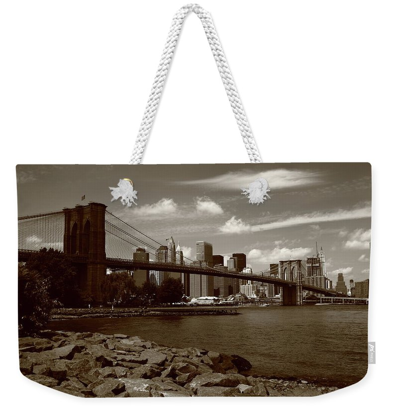 Posters Weekender Tote Bag featuring the photograph Brooklyn Bridge - New York City Skyline by Frank Romeo