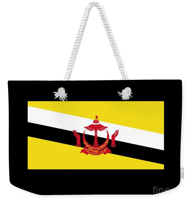 Banner Weekender Tote Bag featuring the digital art Brunei Flag by Frederick Holiday