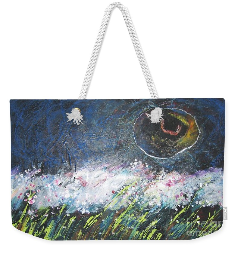 Aabstract Paintings Weekender Tote Bag featuring the painting Buckwheat Field by Seon-Jeong Kim