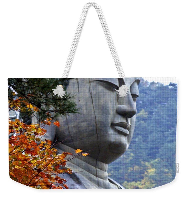 Buddha Weekender Tote Bag featuring the photograph Buddha in Autumn by Michele Burgess