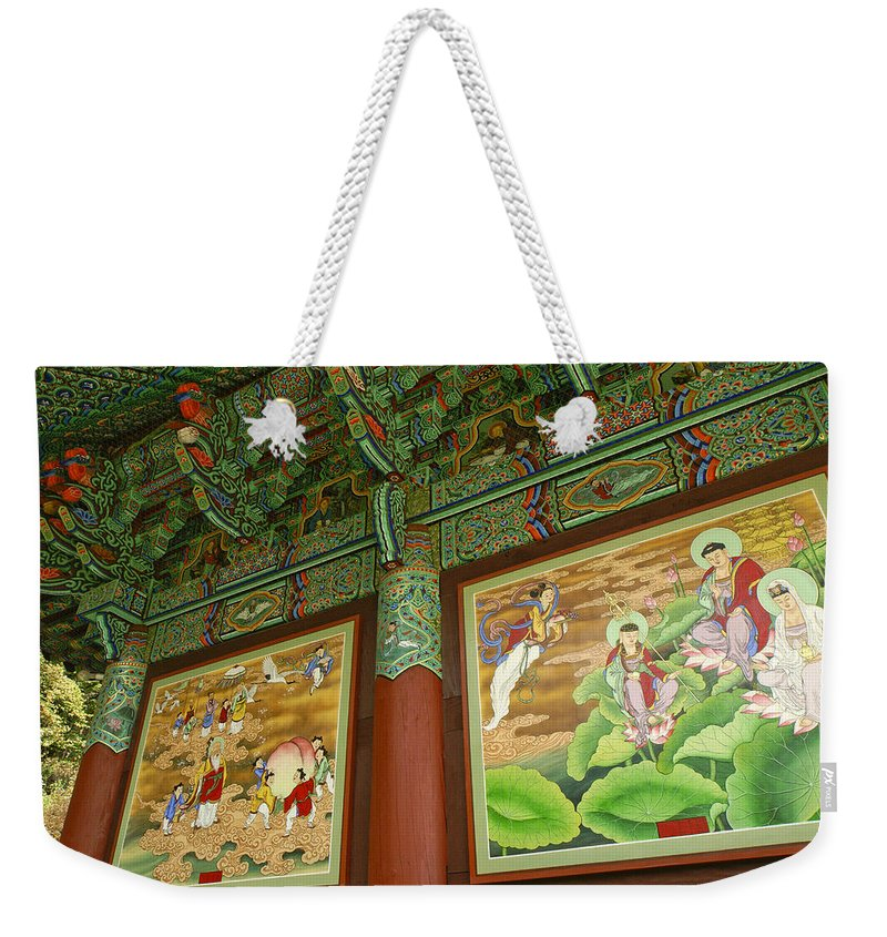 Buddha Weekender Tote Bag featuring the photograph Buddhist Murals by Michele Burgess