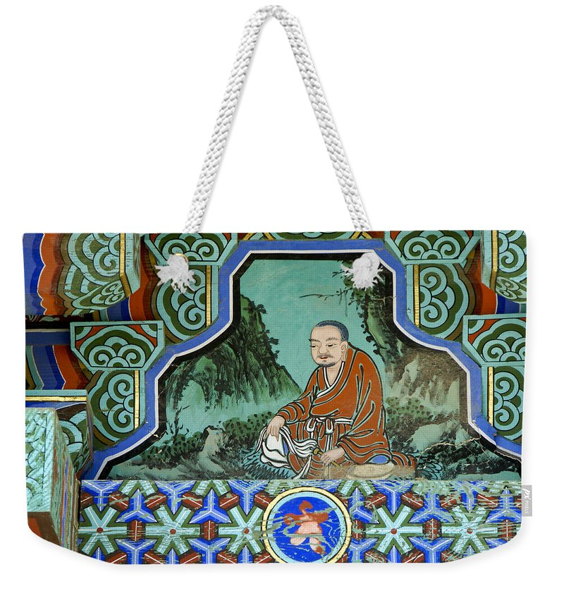 Buddha Weekender Tote Bag featuring the photograph Buddhist Temple Art by Michele Burgess
