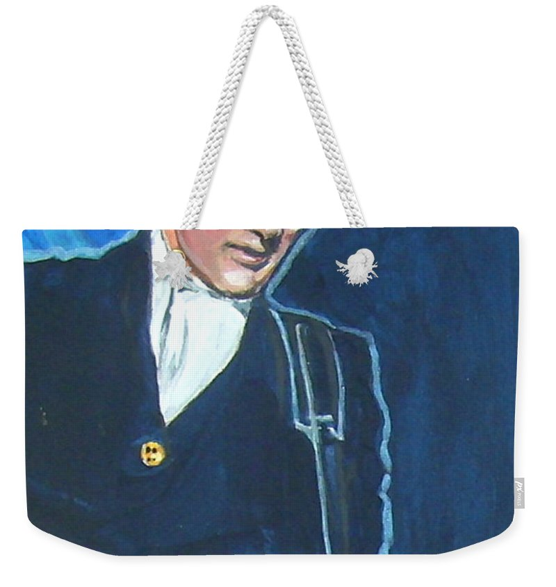Buddy Holly Weekender Tote Bag featuring the painting Buddy Holly by Bryan Bustard