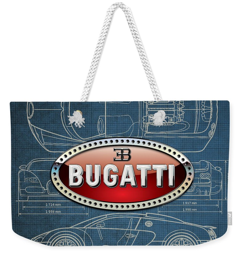�wheels Of Fortune� By Serge Averbukh Weekender Tote Bag featuring the photograph Bugatti 3 D Badge Over Bugatti Veyron Grand Sport Blueprint by Serge Averbukh