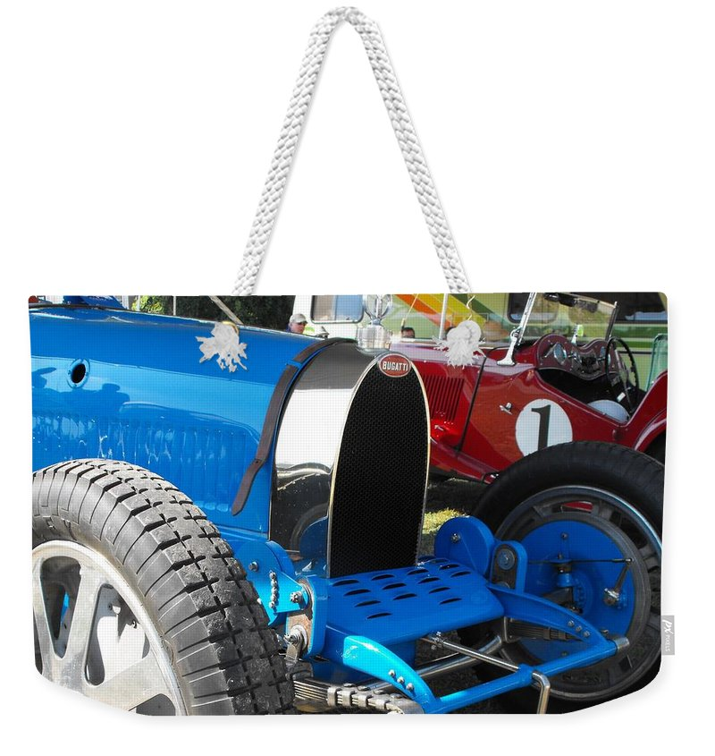 Bugatti Weekender Tote Bag featuring the photograph Bugatti Racer by Neil Zimmerman