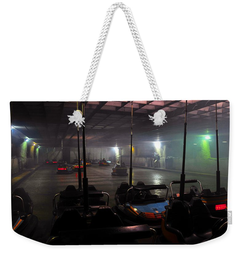 Bumper Cars In Fog Weekender Tote Bag featuring the photograph Bumper Cars In Fog by David Lee Thompson