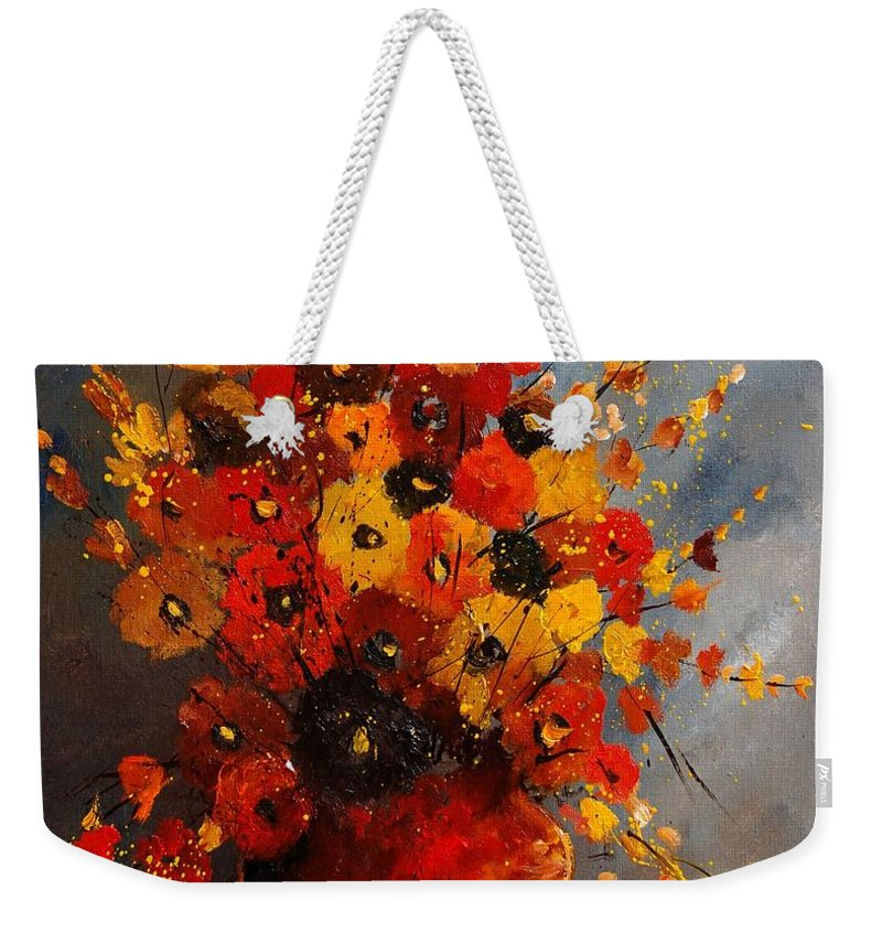 Flowers Weekender Tote Bag featuring the painting Bunch 0708 by Pol Ledent