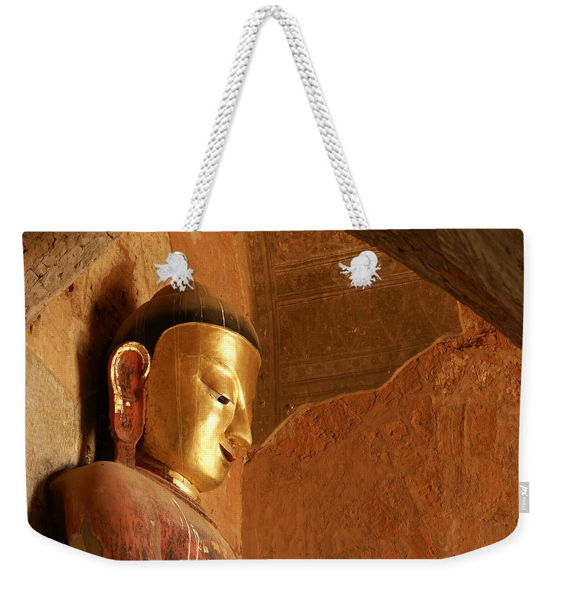 Buddha Weekender Tote Bag featuring the photograph Burmese Buddha by Michele Burgess