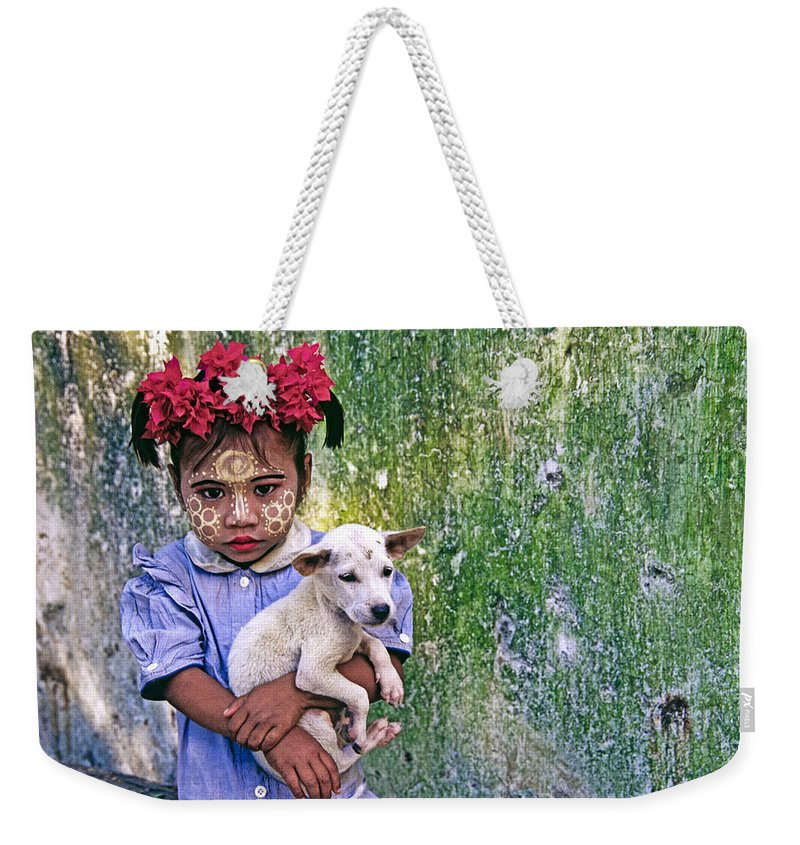 Myanmar Weekender Tote Bag featuring the photograph Burmese Girl With Puppy by Michele Burgess