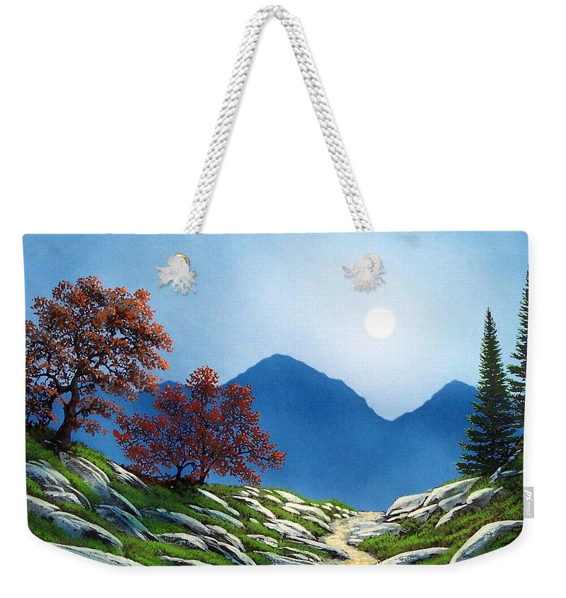 Landscape Weekender Tote Bag featuring the painting By The Light Of The Moon by Frank Wilson