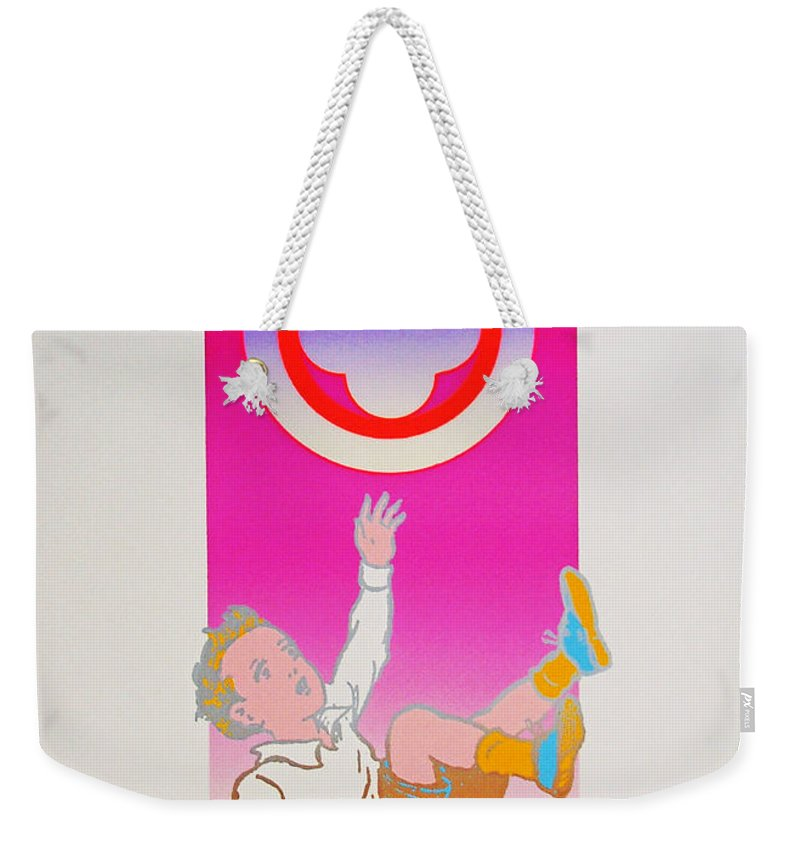 Boy Falling Weekender Tote Bag featuring the mixed media By The Time I Got To Woodstock by Charles Stuart