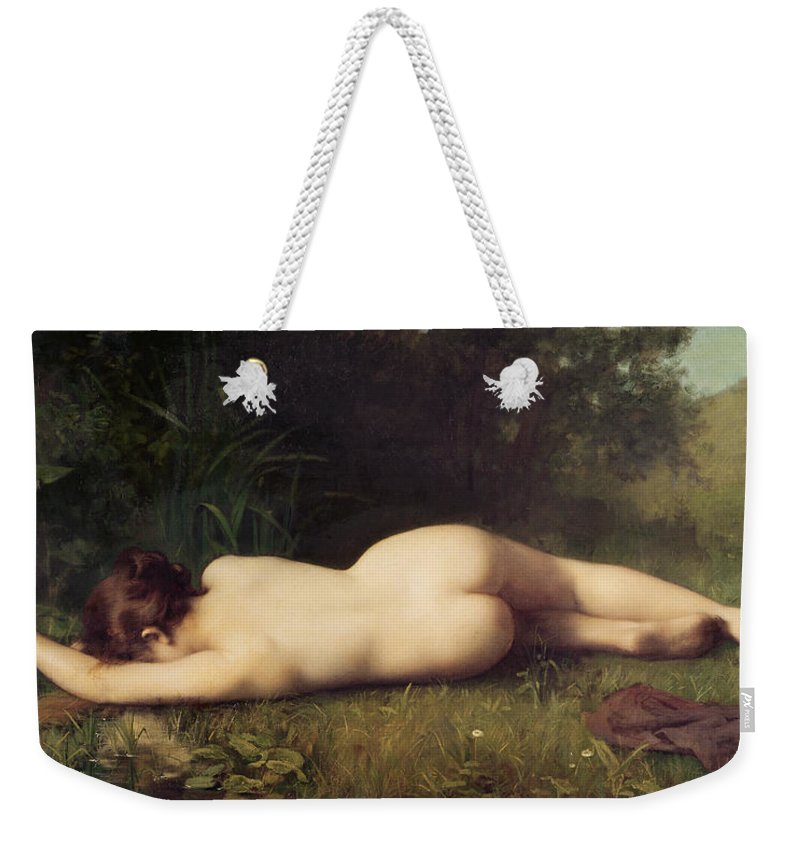 Byblis Weekender Tote Bag featuring the painting Byblis Turning Into A Spring by Jean-Jacques Henner