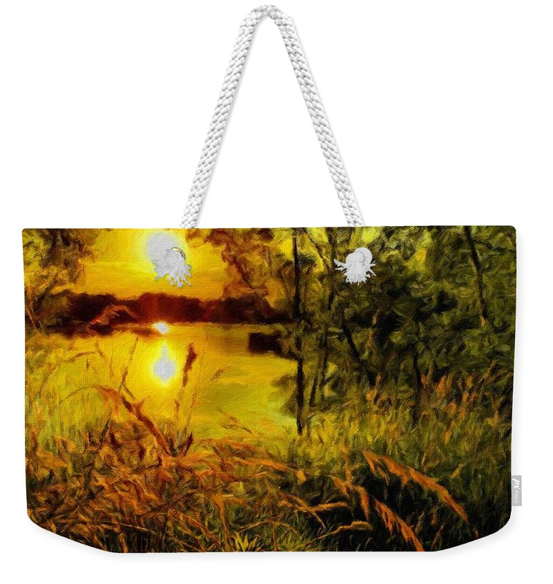 H Weekender Tote Bag featuring the digital art C Landscape by Usa Map