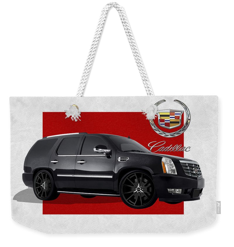 �cadillac� By Serge Averbukh Weekender Tote Bag featuring the photograph Cadillac Escalade With 3 D Badge by Serge Averbukh