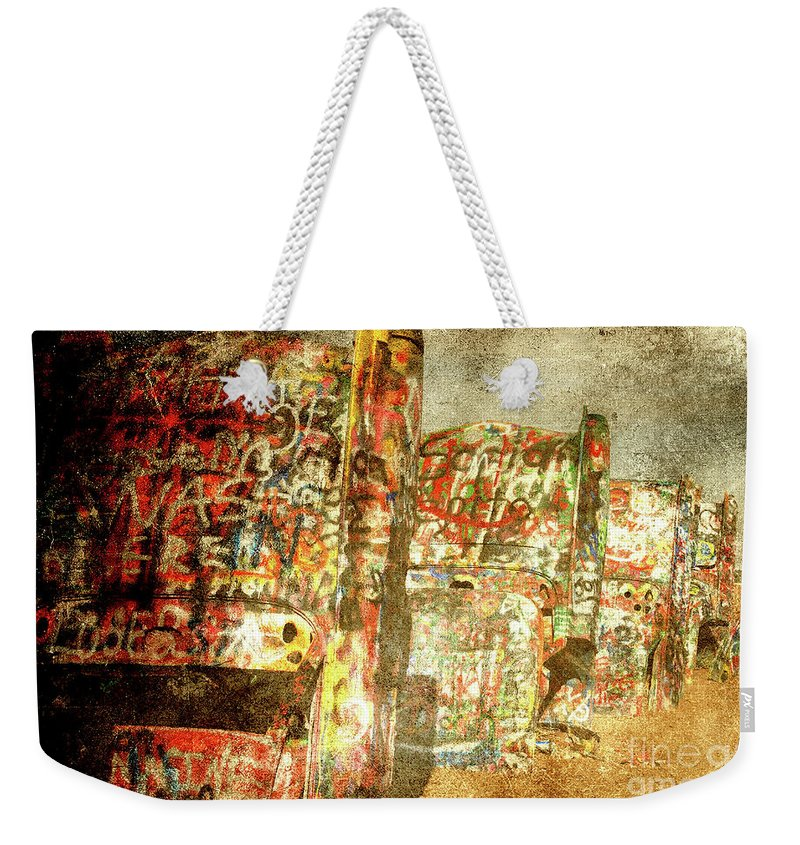 Cadillac Weekender Tote Bag featuring the photograph Cadillac Ranch On Route 66 by Susanne Van Hulst