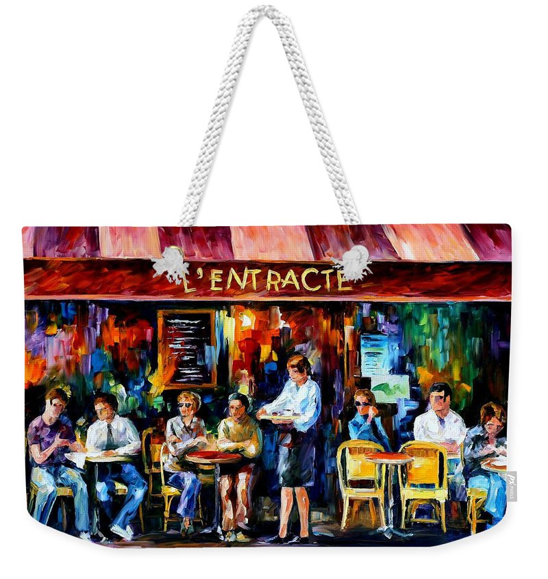 Afremov Weekender Tote Bag featuring the painting Cafe In Paris by Leonid Afremov