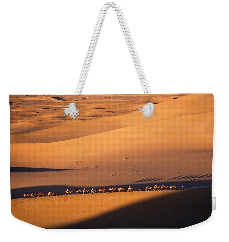 Asia Weekender Tote Bag featuring the photograph Camel Caravan Crosses The Dunes by Michele Burgess
