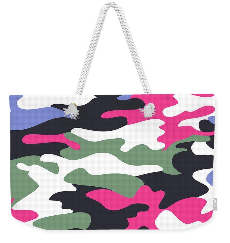 Seamless Weekender Tote Bag featuring the digital art Camouflage Pattern Background Seamless Clothing Print, Repeatabl by Svetlana Corghencea