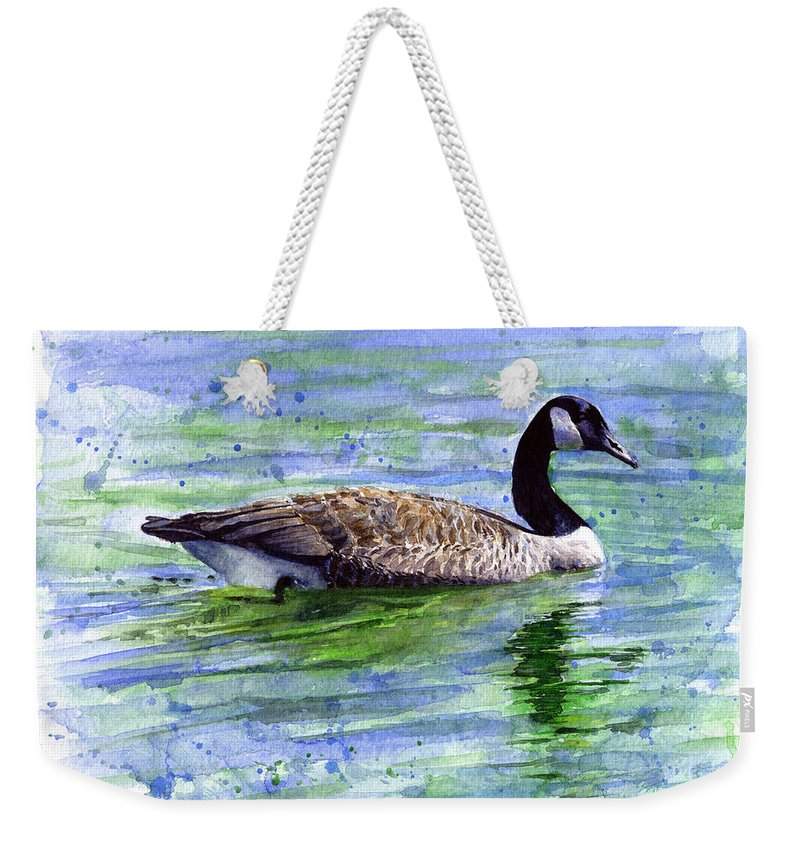 Bird Weekender Tote Bag featuring the painting Canada Goose by John D Benson