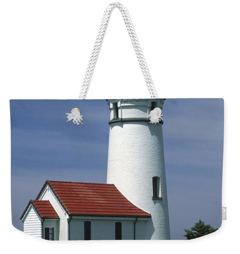 Lighthouse Weekender Tote Bag featuring the photograph Cape Blanco Lighthouse by Sandra Bronstein