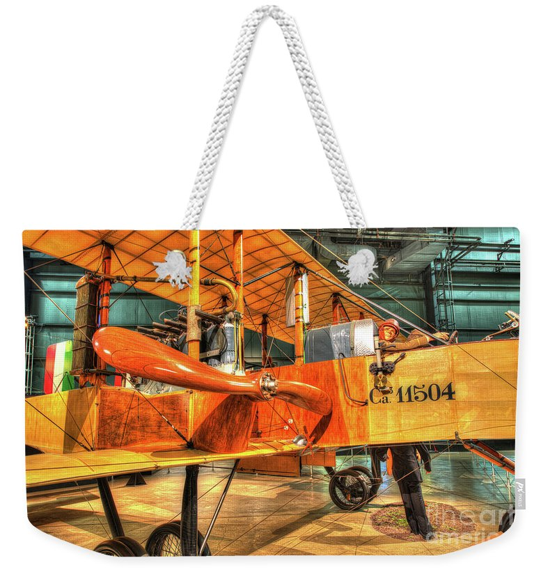 Nose Weekender Tote Bag featuring the photograph Caproni, Ca. 36 Bomber by Greg Hager