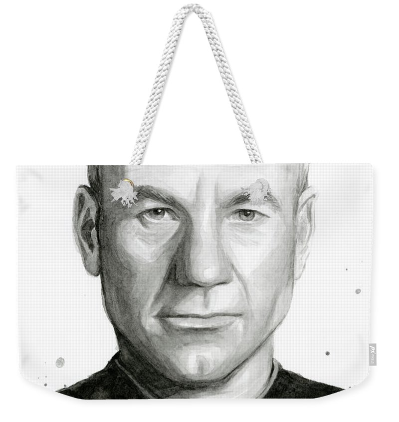 Captain Picard Weekender Tote Bag featuring the painting Captain Picard by Olga Shvartsur