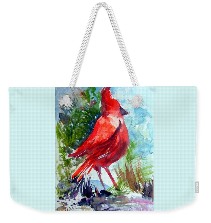 Bird Weekender Tote Bag featuring the painting Cardinal by Mindy Newman