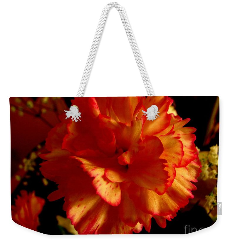 Patzer Weekender Tote Bag featuring the photograph Carnation by Greg Patzer