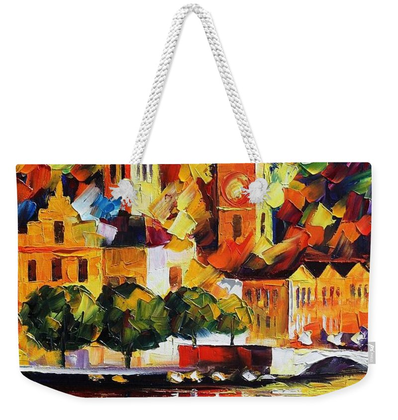 Afremov Weekender Tote Bag featuring the painting Castle By The River by Leonid Afremov